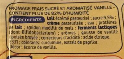 Spécialité laitière au fromage blanc au bifidus saveur vanille - Ingrediënten