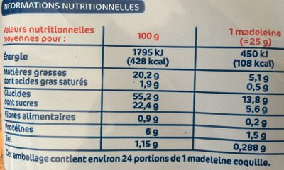 Madeleines coquilles - Nutrition facts