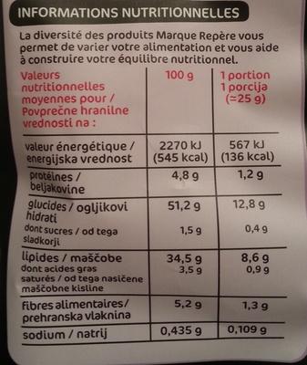 Chips vitelotte - Informations nutritionnelles
