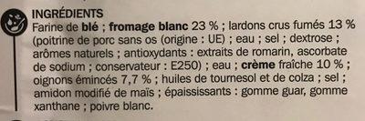 Tarte flambée - Ingrédients - fr