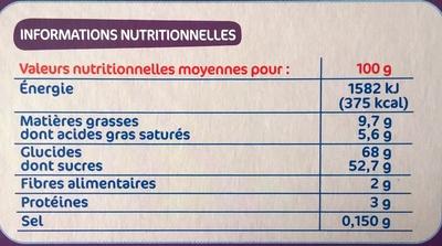 Génoises framboise cassis - Informations nutritionnelles