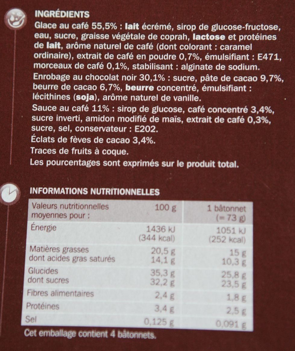 Trium café x 4 - Nutrition facts