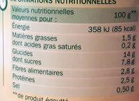 Maïs croquant sans sucres ajoutés - Voedingswaarden - fr