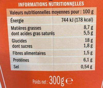 Fusilli aux fromages italiens - box - Informations nutritionnelles