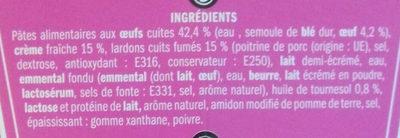 Fusilli à la Carbonara - Ingredients - fr