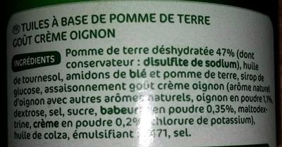Tuiles crème oignon - Ingrédients