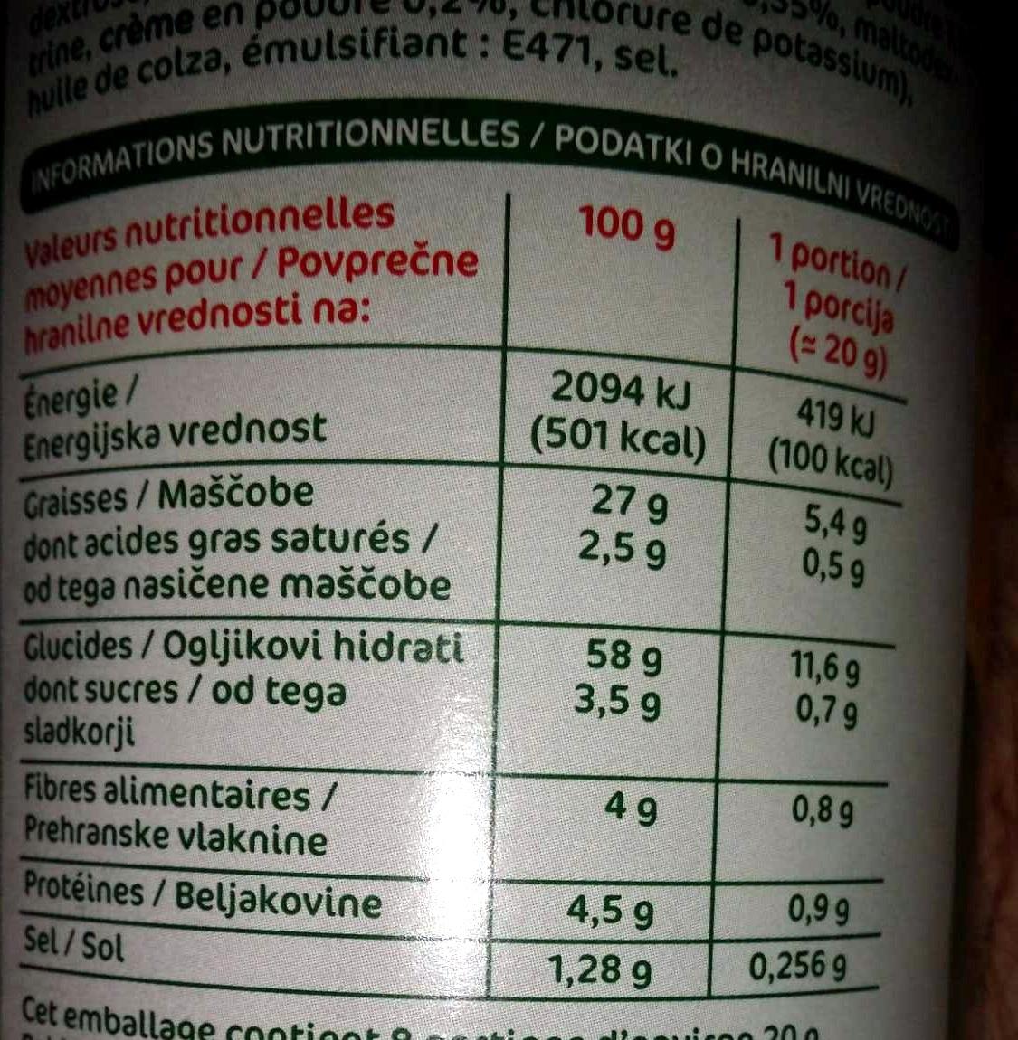 Tuiles crème oignon - Informations nutritionnelles