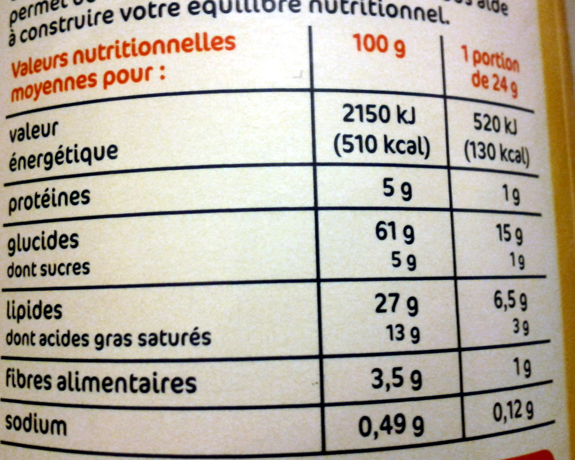 Tuiles goût fromage - Informations nutritionnelles