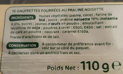 Gaufrettes pralines noisettes - المكونات - fr