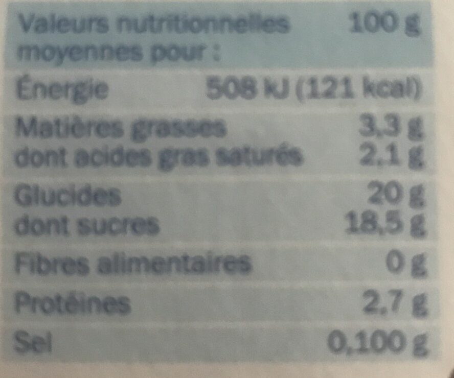 Flan choco nappe chocolat - Nutrition facts