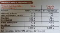 Gâteau tout chocolat - Voedingswaarden - fr