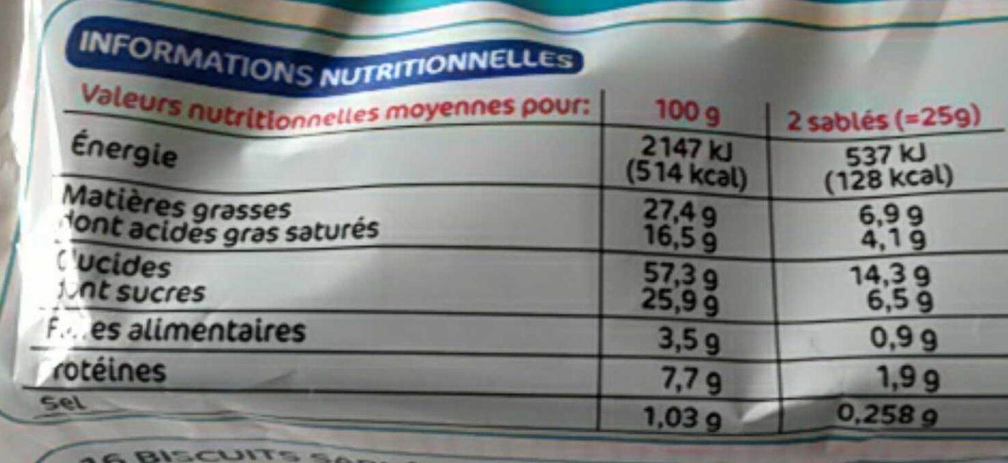 Sablés aux céréales noix de coco x 16 - Informations nutritionnelles - fr