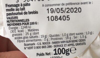 Fromage de brebis 25% Mat. Gr. - Nutrition facts - fr