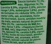 Ravioli aux 4 légumes - Ingredients