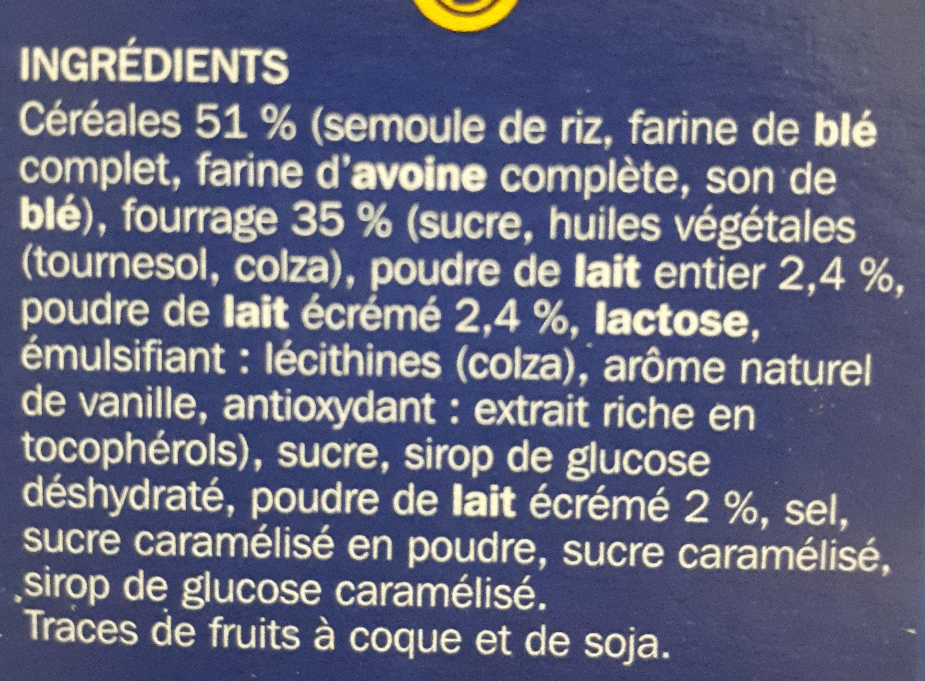Céréales fourrées au lait - Ingrédients - fr