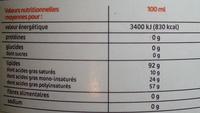 Huile pour fondue - Informations nutritionnelles
