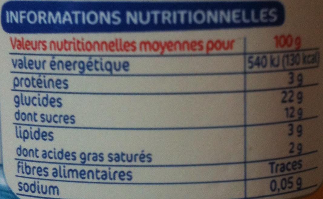 Riz au lait nature - Nutrition facts - fr