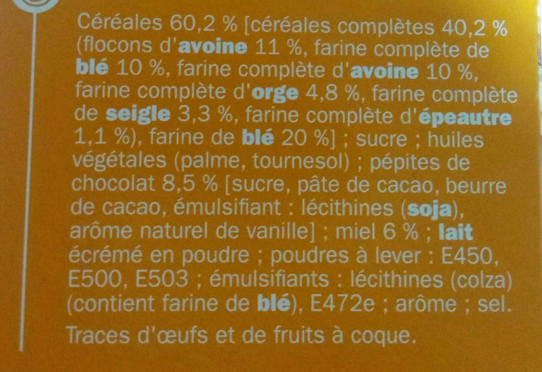 Biscuits petit déjeuner Déli-Matin miel et pépites de chocolat - Ingrediënten