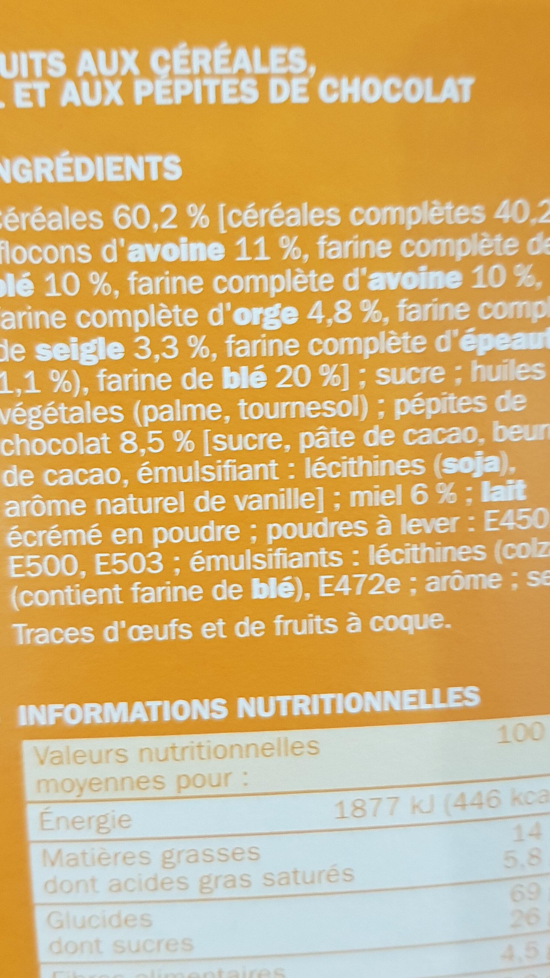 Biscuits petit déjeuner Déli-Matin miel et pépites de chocolat - Ingrediënten - fr
