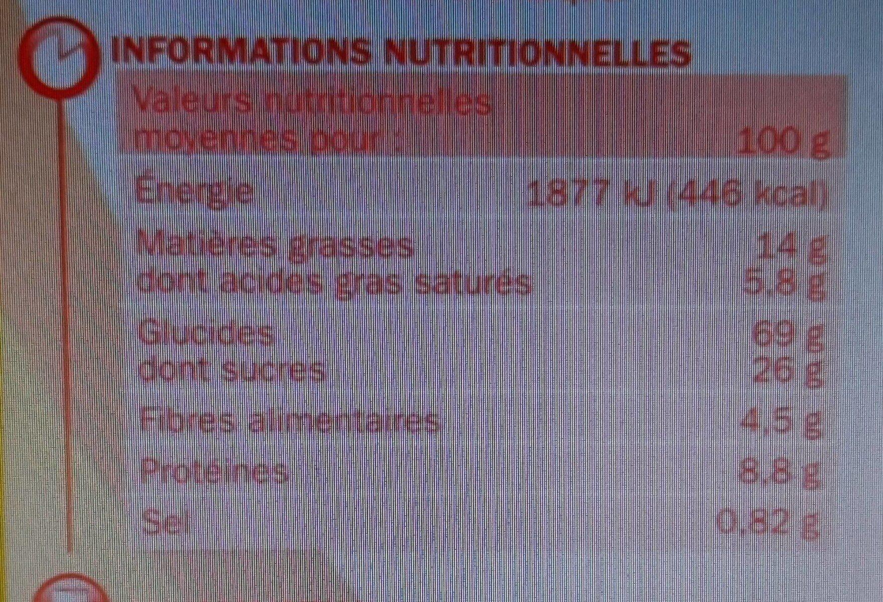 Biscuits petit déjeuner Déli-Matin miel et pépites de chocolat - Voedingswaarden - fr