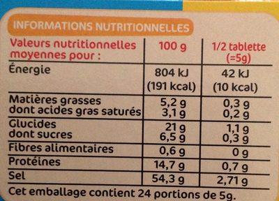 Bouillon de volaille dégraissé 12 x 10 g - Informations nutritionnelles - fr