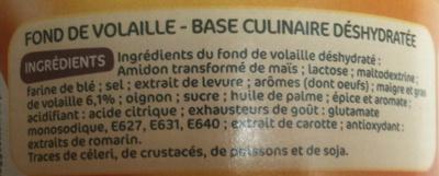 Fond de volaille déshydraté - Ingredients - fr