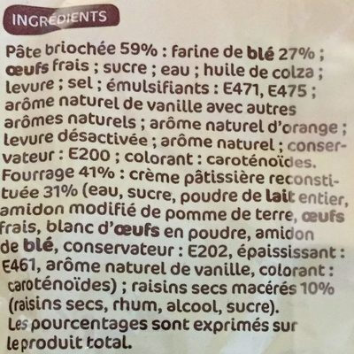 Pains aux raisins x 6 - Ingredients - fr