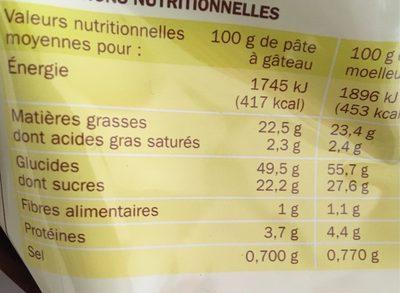 Prepa gateau moelleux citron - Voedingswaarden - fr