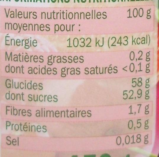 Confiture 4 fruits rouges - Nutrition facts - fr