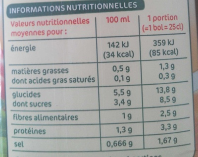 Potage gourmand tomates, oignons et basilic - Nutrition facts - fr