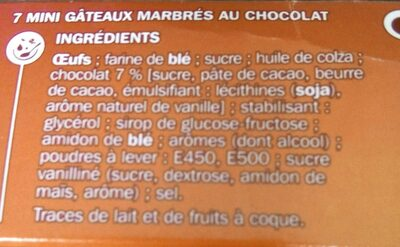 Mini marbrés chocolat x 7 - Ingredients