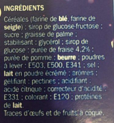 Mini goûters fourrés parfum fraise - Ingrédients