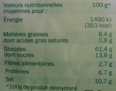 Soupe déshydratée crème asperge - Informations nutritionnelles - fr