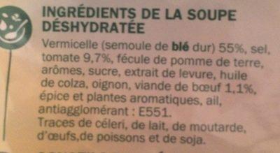 Soupe boeuf tomates vermicelles - Ingredients - fr
