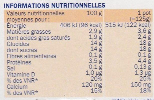 Yaourts brassés aux Fruits Mixés - Información nutricional