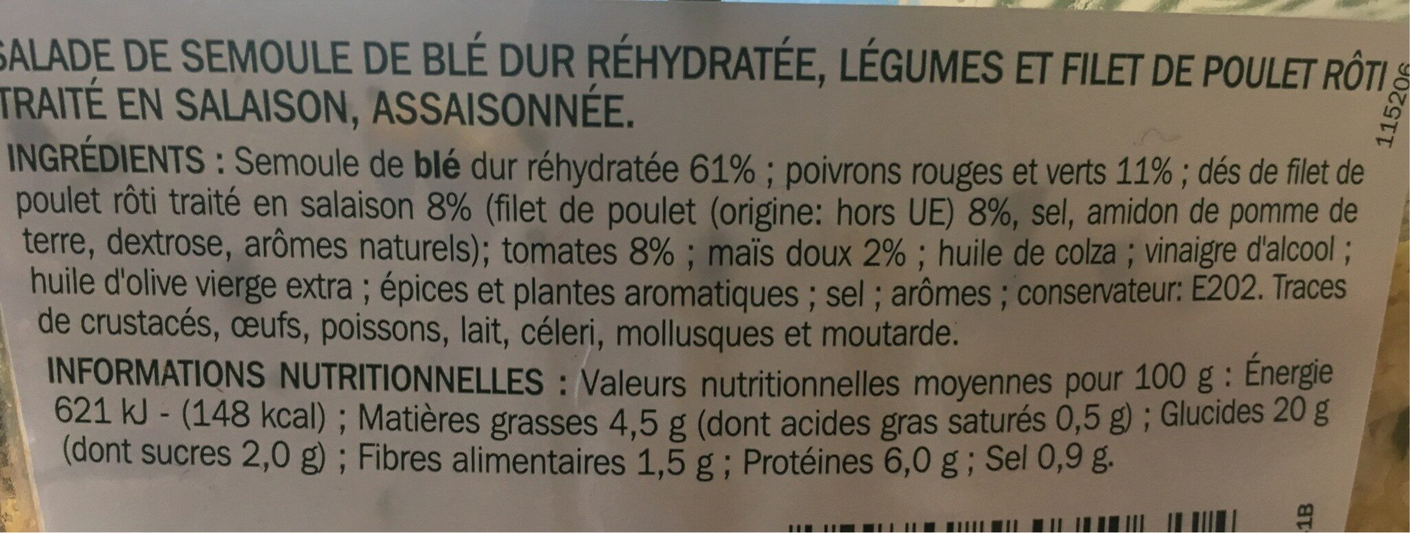 Taboulé au poulet - Ingrediënten - fr