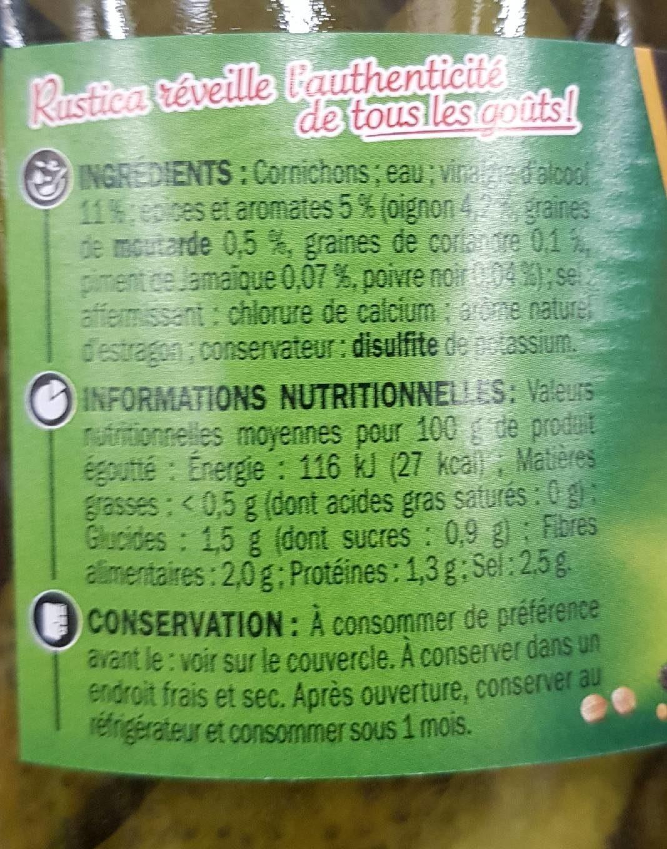 Cornichons fins 5 aromates - Informations nutritionnelles - fr