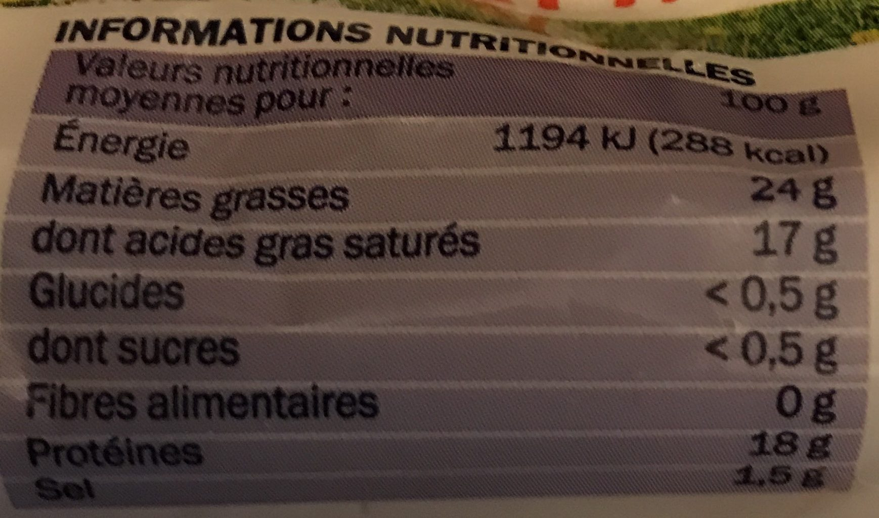 Bûche de chèvre Ste Maure 25% - Voedigswaarden