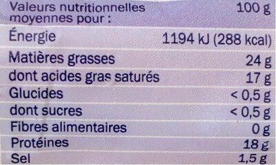 Bûche de chèvre Ste Maure 25% - Voedingswaarden - fr