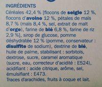 Barres céréales pomme verte - Ingrédients