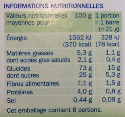 Barres céréales pomme verte - Informations nutritionnelles - fr