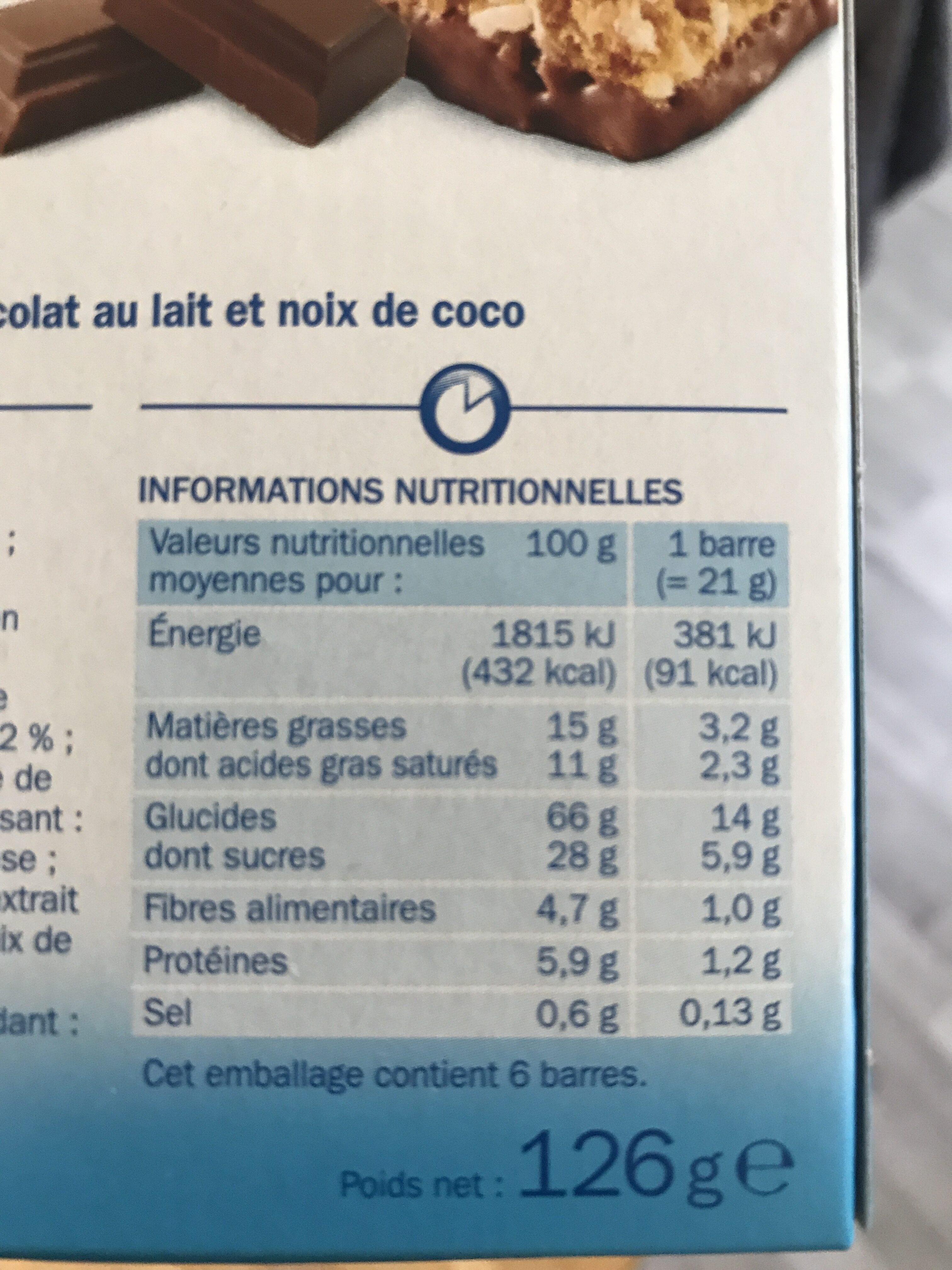 Barres céréales chocolat au lait noix de coco x 6 - Informations nutritionnelles - fr