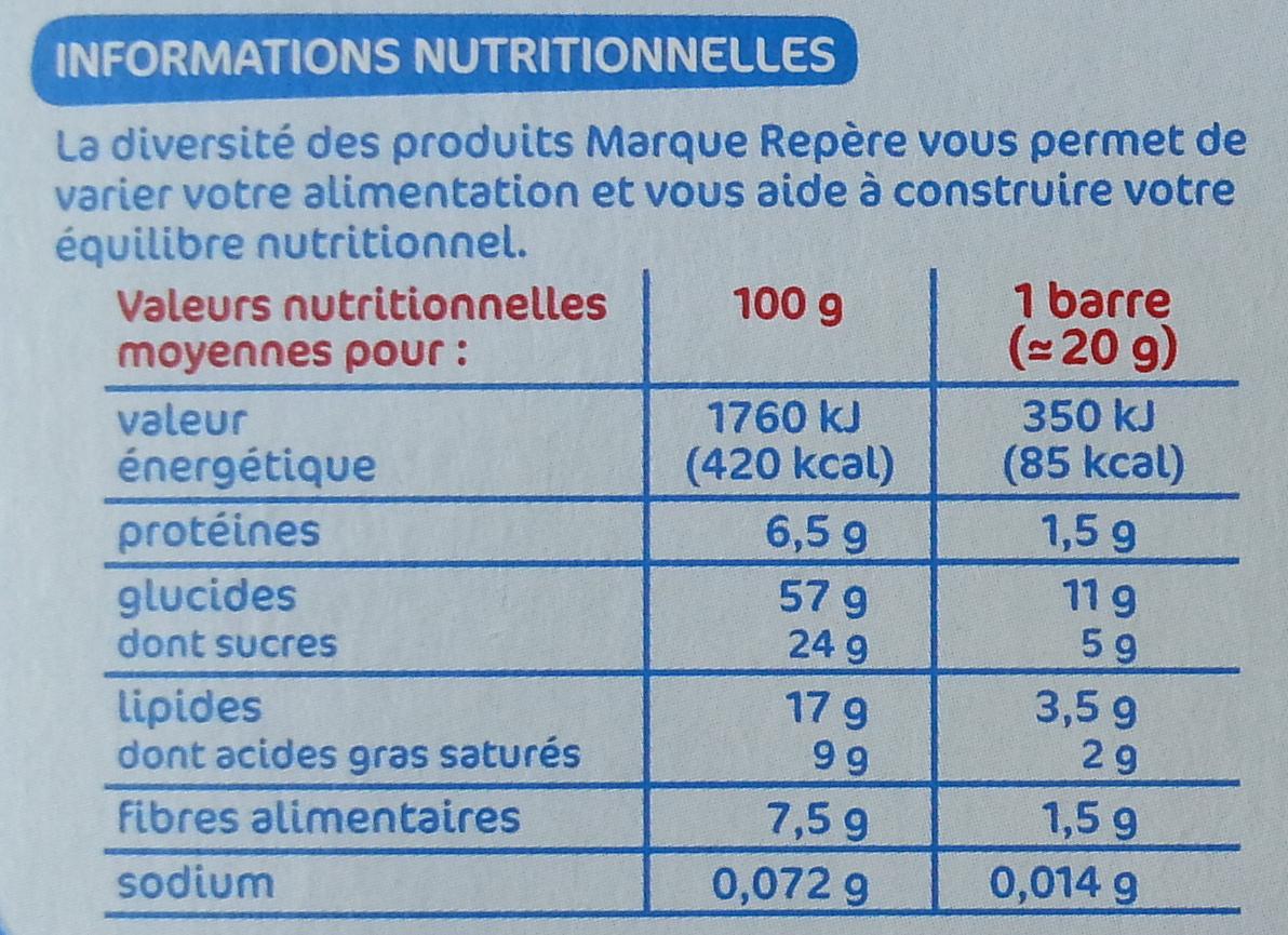 Barres céréales chocolat au lait noix de coco x 6 - Voedingswaarden - fr