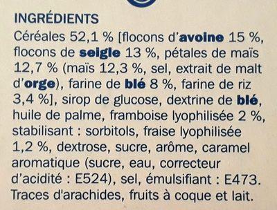 Barres céréales fruits rouges x 6 - Ingrédients - fr