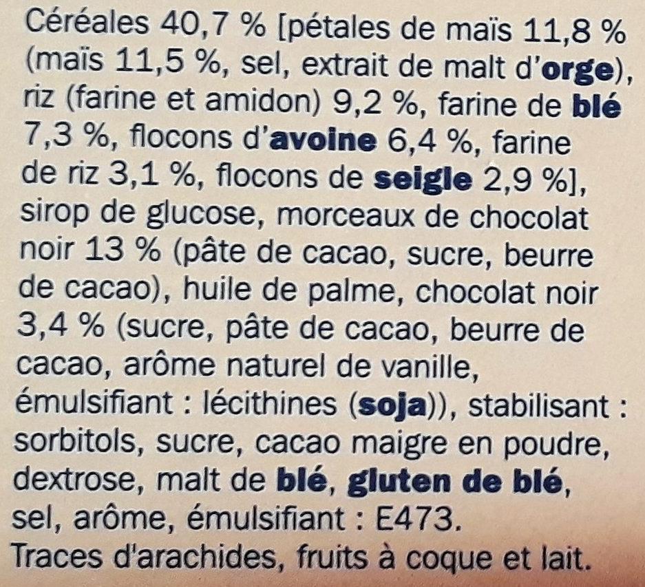 Barres céréales chocolat noir - Ingrediënten