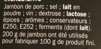 Spécialité saucisson sec - Ingrediënten