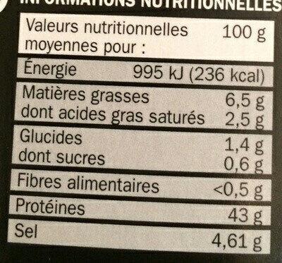 Spécialité saucisson sec - Voedingswaarden - fr