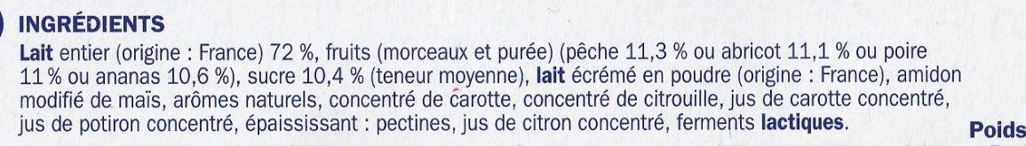Yaourt fruit jaunes - Ingrédients