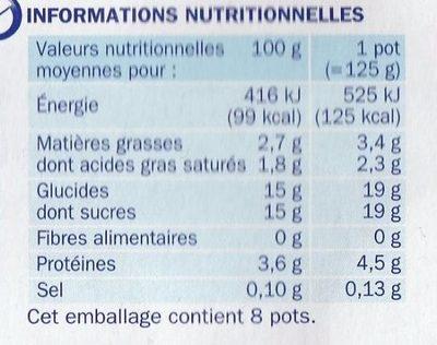 Yaourt fruit jaunes - Informations nutritionnelles