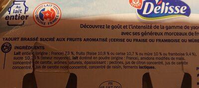 Yaourts aux Fruits rouges - Ingrédients
